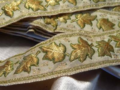 A Wonderful Huge Length French Gold Brocade Passementerie On Card
