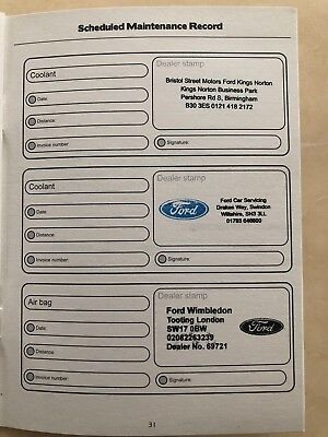 Ford Service Book Stamped To Your Choice, Brand New & Genuine Ford Service Book