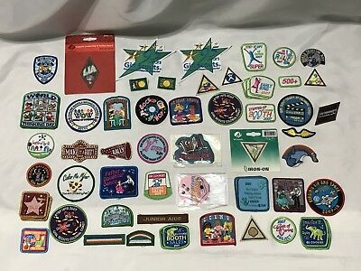 Mixed Lot of 62 Girl Scout Iron On Patches Badges