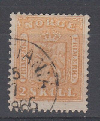Norway 1863 2sk Yellow fine used . SG 12