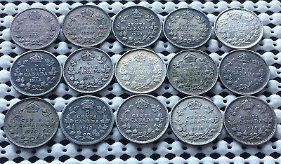 Collection of 15 Coins ❀ King George V Era ❀ Canada Silver 5 Cents