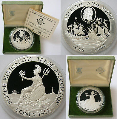1988 ROYAL MINT 5oz .999 SILVER PROOF COINEX MEDAL WILLIAM & MARY AND BRITANNIA