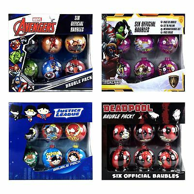 Official Star Wars, Marvel and DC Comics Christmas Tree Baubles 6PC Packs