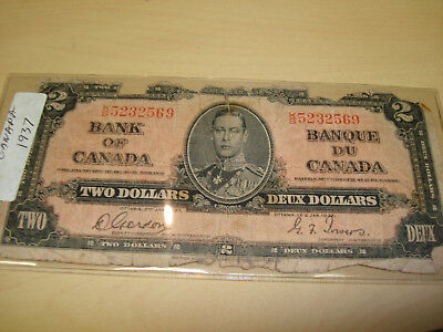 Canadian Currency Note 1937  2 Dollars very well circulated