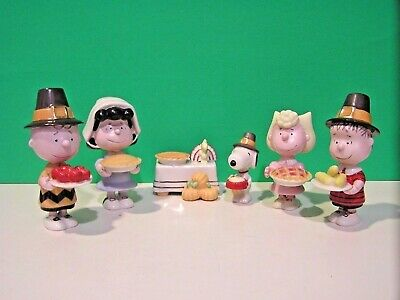 LENOX PEANUTS THANKSGIVING 6 piece Set NEW in BOX w COA Snoopy Linus Lucy Sally