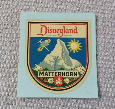 Scarce Vintage Disneyland Theme Park Matterhorn Coaster Nose Cone Car Decal