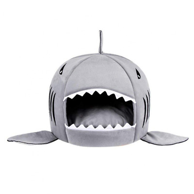 Dog Shark Bed Small Cat Shark Sleeping Bag Pet Warm Round House w/ Bed Mat US