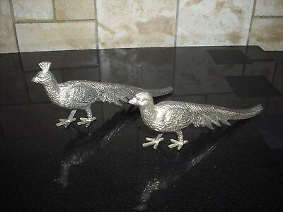 Silver Plated Peacock and Peahen Table Ornaments