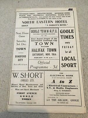 Goole town v Halifax town FA CUP 1st rd, 1955 old football programme