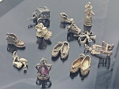 Good Lot of  11 Mixed Vintage 925 Silver Charms Great Selection