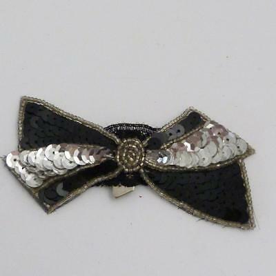 Art Deco Black And Silver Sequinned Clip On Bow, Marked Expedit Paris On Clip