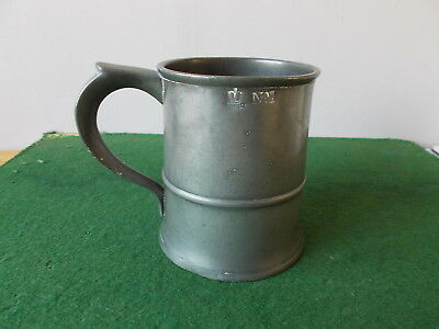 Antique Pewter Pint Tankard, Marked Durham No. 1