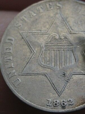 1862 Three 3 Cent Silver Coin- VF/XF Details- Rare Key Date