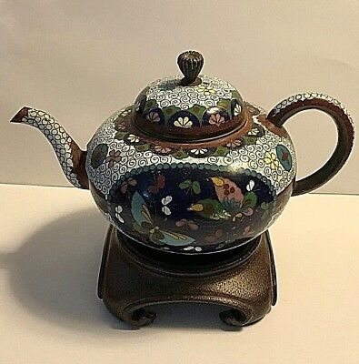 Antique Japanese Cloisonne Enamel and Gold Stone Flakes Teapot, 19th Century