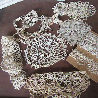 ANTIQUE LACE TATTING Lot TINY DOLL TRIM MEDALLIONS DOILY Dainty picots hairpin!