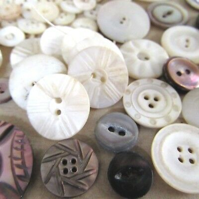 Vtg Antique Mother of Pearl Button Lot Smoky Shell Carved 3 Hole Whistle sm_LG