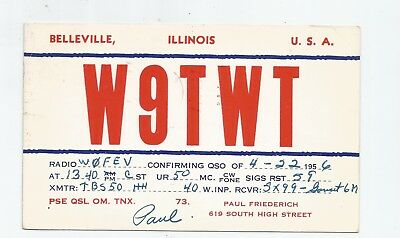 Nice used QSL Radio card from Belleview Illinois