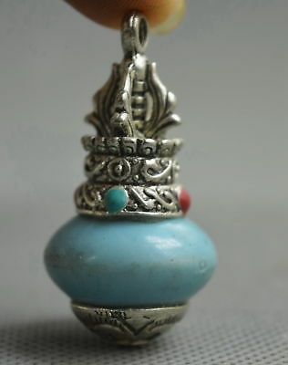 Collectable Handwork Miao Silver Carve Tibetan Totem Inlay Turquoise Pendant Old