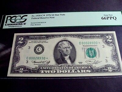 Fr. 1935-C* 1976 FEDERAL RESERVE STAR NOTE   PCGS CURRENCY  66 PPQ GEM NEW!