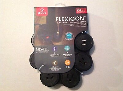 Flexigon  Surge Protector Flexible Power Strip USB 3.1A Fast Charging Plug BLACK