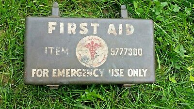 Original Ww2 Us Army Motor Vehicle Medical First Aid Kit #9777300 Metal Box Nice