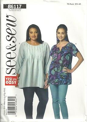 BUTTERICK See&Sew B6117 MISSES' SIZE XS-XXL TOPS SEWING PATTERN