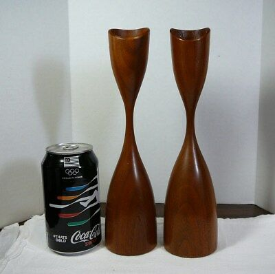 (wax dirtiness, rough) Vtg Wood Wooden Mid Century Modern Candle Sticks Holders