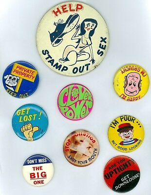 9 Vintage 1940's-70's Humorous Slogans Pinback Buttons-Get Lost-Clover Power