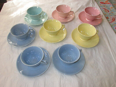 Taylor Smith TST LuRay Pastels - 8 Cups & Saucers 2 Pink 3 Blue 2 Yellow 1 Green