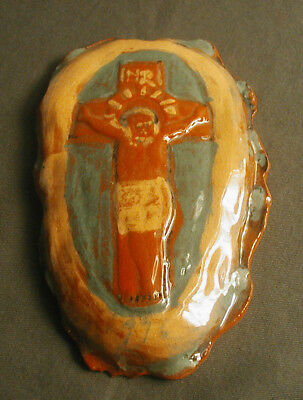 Vintage Early Redware Crucifex By Stahl 1916 To My Pal - Primitive Folk Art   T9