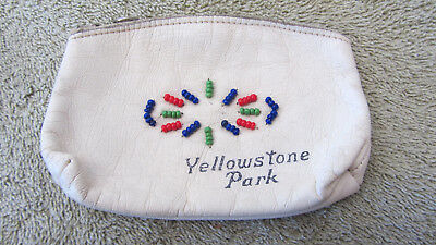 Vintage Yellowstone National Park Beaded Leather Coin Purse