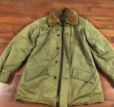 ed853b1097 VINTAGE 1960'S DECK Jacket Canvas Parka Sherpa Fur Navy Jacket Green ...