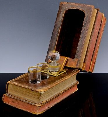 Rare Victorian Leather Book Form Cut Crystal Whiskey Decanter Tantalus Baccarat