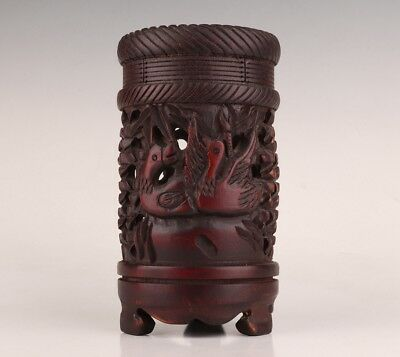 Vintage Chinese Bamboo Pen Container POTS Old Hand-Carved Hollowed-Out Decora
