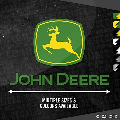 Tall 2 Tone John Deere with Deere Badge / Emblem / Sticker / Decal for Tractor