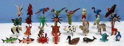 Vintage hand painted metal pins stick hat lapel 1960s new old stock insect bug