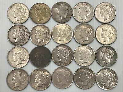 Lot Mixed Peace Silver Dollar Lot of 20 Coins 90% Silver Q3P9