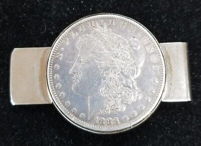 1883 Silver Morgan Dollar Money Clip Howdy Podner Las Vegas NV Pioneer Casino Z1