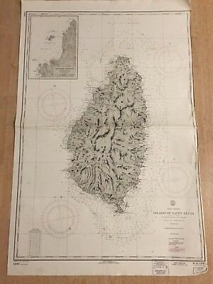 Nautical Chart Island of Saint Lucia West Indies 1940 Vintage Maritime Map 4549