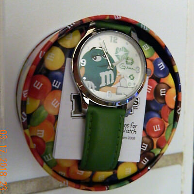 New Green M&m Watch With Tin 2008 Officially Licensed Analog Kiss