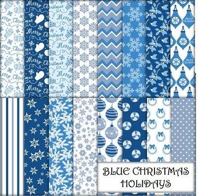 BLUE CHRISTMAS HOLIDAYS SCRAPBOOK PAPER - 16 x A4 pages.