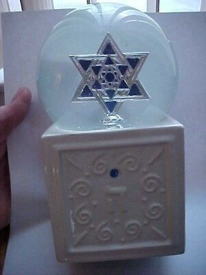 Jewish Musical Snow Globe, Large Star of David w/ Blue Stones on White Base