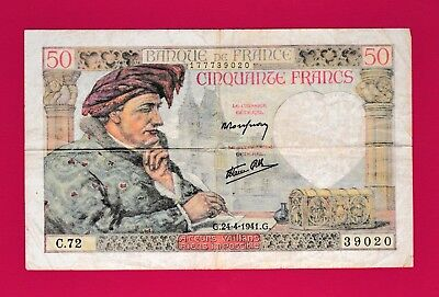 RARE & Beautiful French Banknote 50 Francs 1941 (P-93) - Watermark: Woman's Head