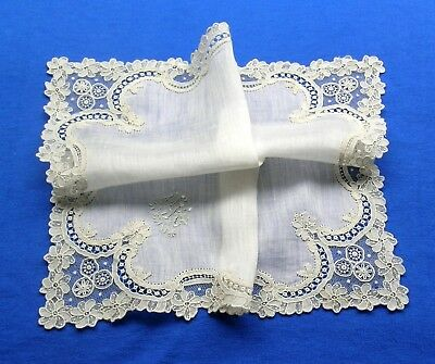 Antique Wedding Brussels Point de Gaze Needle Lace Hanky