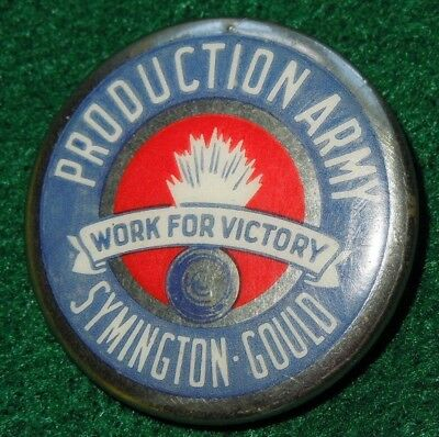 US Military WWII Home Front PRODUCTION ARMY Symington Gould Pin Button VICTORY