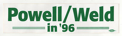 Unusual COLIN POWELL Bill Weld MASSACHUSETTS Governor POLITICAL Bumper Sticker