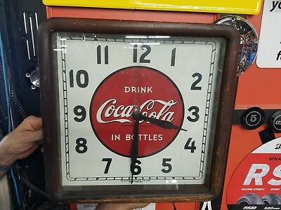 Antique 1940's Coca-Cola Promo Clock Sign Art Deco Tin Wood Frame Works COKE!
