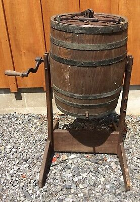 Antique Wood Wooden Barrel Rocker Butter Churn Hand Crank Stand Cast Iron Farm