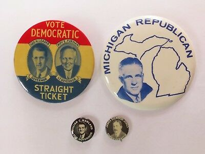 Collection of 4 Local Pinbacks from Pennsylvania, Michigan & West Virginia