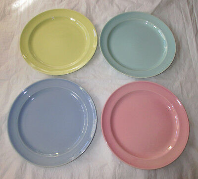 """4 Taylor Smith TS&T Lu-Ray Pastels 9.25"""" Luncheon Plates Yellow Pink Blue Green"""
